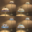2 Lights Umbrella Floor Light Mediterranean Style Stained Glass Standing Light for Restaurant