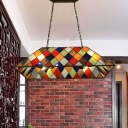Stained Glass Lattice Trapezoid Island Light 4 Lights Tiffany Vintage Island Lamp for Dining Room Bar