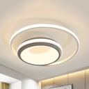 Metal Bowl LED Flush Mount Light Kid Bedroom Simple Style Ceiling Light with Warm/White Lighting