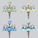 Tiffany Blue/Green/Sky Blue/Yellow Floor Lamp with Pretty Girl 6 Lights Art Glass Floor Light for Bar