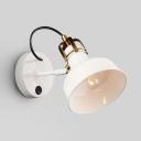 White Barn Sconce Light Rotatable 1 Light Modern Style Metal Wall Lamp for Study Room Foyer