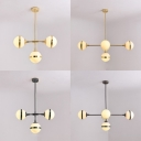 Opal Glass Orb Pendant Light 3/5 Lights Modern Style Chandelier in Gold/Silver for Study Room