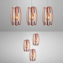 Industrial Rose Gold Hanging Light Curved Wire Frame 3 Lights Metal Pendant Light for Cloth Shop