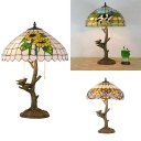Tree Baroque/Cow/Sunflower Desk Light with Bird Glass Resin 2 Lights Rustic Stylish Table Lamp for Cafe
