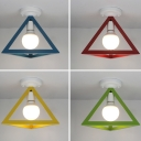 One Head Triangle Ceiling Mount Light Macaron Metal Ceiling Lamp in Blue/Green/Red/Yellow for Corridor