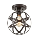 Bronze Sphere Ceiling Mount Light Single Head Industrial Iron Ceiling Fixture for Cloth Shop