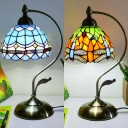 Domed Shade Cafe Desk Light Stained Glass One Light Traditional Tiffany Table Light in Blue/Orange