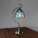 Art Glass Lattice Dome Desk Light 1 Light Tiffany Simple Style Desk Lamp in White/Blue for Study Room