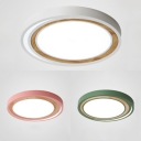 Slim Panel Teen Flush Ceiling Light Acrylic Nordic Style Warm/White Lighting Flush Light in Green/Pink/White