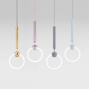 Bedroom Kitchen Ring Pendant Light Metal Nordic Stylish Blue/Gray/Gold/Rose Gold Ceiling Light with Warm/White Lighting