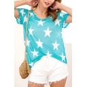 Women's Summer Trendy Allover Five-Point Star Print V-Neck Short Sleeve Casual Tee