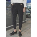 Guys Stylish Stripe Plaid Printed Tailored Tapered Trousers Suspender Pants