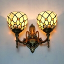 Glass Dome Shade Sconce Light Restaurant Cafe 2 Lights Tiffany Style Vintage Sconce Lamp