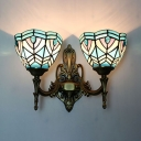 Stained Glass Domed Wall Light 2 Lights Tiffany Style Vintage Sconce Light for Bathroom Hallway