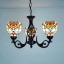 Dome Shade Hanging Light 3 Lights Tiffany Style Baroque Stained Glass Chandelier for Dining Room