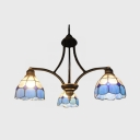 Kitchen Bathroom Dome Chandelier Stained Glass 3 Lights Mediterranean Style Blue Pendant Light