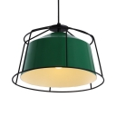 1 Light Wire Frame Ceiling Light Industrial Aluminum Hanging Light in Green for Dining Room