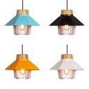 Metal House Shade Pendant Light 1 Light Nordic Style Hanging Light in Black/Blue/White/Yellow for Bedroom