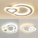 Circle/Heart/Penguin Flush Mount Light Cute Acrylic LED Ceiling Light in Warm/White for Kid Bedroom