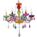Kindergarten Candle Chandelier Crystal 6/8 Lights Decorative Color Suspension Light