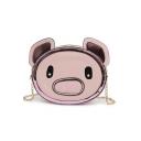 Cute Cartoon Pig Pattern Crossbody Purse with Chain Strap 19*7*15 CM