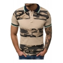 Summer Men's Camouflage 3D Print Contrast Trim Tipped Collar Short Sleeve Slim Fit Polo Shirt