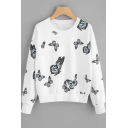 New Stylish Butterflies Printed Round Neck Long Sleeve White Loose Casual Sweatshirt