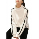 Girls Fashion Striped Long Sleeve High Neck Thick Sweatshirt