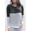 Color Block Round Neck Long Sleeve Crisscross Back Sweatshirt