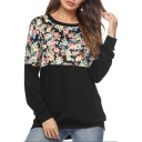 New Stylish Women's Floral Print Patchwork Round Neck Long Sleeve Sweatshirt