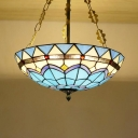 Stained Glass Dome Hanging Light Tiffany Style Nautical Chandelier in Blue for Bedroom