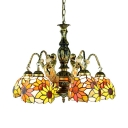 Sunflower Restaurant Suspension Light with Mermaid Stained Glass 5 Lights Tiffany Style Rustic Hanging Light
