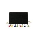 Trendy Solid Color Colored Tassel Embellishment Crossbody Sling Bag 18*5*13 CM