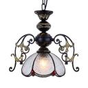 Tiffany Style Petal Pendant Lighting Glass Single Light Carved Suspension Light for Restaurant