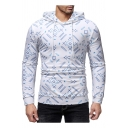 Men's Allover Geometric Printed White Long Sleeve Fitted Hoodie