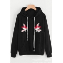 Fashion Two Birds Embroidered Drawstring Hood Long Sleeve Black Loose Fit Hoodie with Pocket