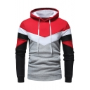 New Trendy Colorblock Printed Long Sleeve Drawstring Detail Casual Hoodie For Men