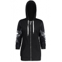 Unique Skull Wing Print Long Sleeve Crisscross Tie Drawstring Hood Zip-Front Black Slim Fit Hoodie with Pocket