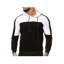 Mens Fashionable Colorblock Print Long Sleeve Pocket Detail Sport Casual Drawstring Hoodie
