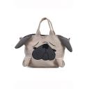 Cute Cartoon Dog Pattern Khaki Corduroy Shoulder Bag 19*11*20 CM