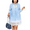 Women's Long Sleeve Collared Plain Button-Front Lace Hem Plus Size Mini Shirt Light Blue Dress