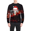Christmas Funny Alpaca Print Round Neck Long Sleeve Black Loose Fit Pullover Sweatshirt