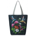 National Style Creative Floral Birds Pattern Dark Green Canvas Shoulder Bag 27*11*38 CM