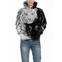 Cool Tiger 3D Print Black and White Colorblock Long Sleeve Loose Fit Unisex Hoodie with Pocket