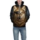 Hot Fashion 3D Dog Print Long Sleeve Black Loose Fit Unisex Black Hoodie