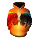 New Stylish Men's Cool Ice and Fire Leopard 3D Printed Long Sleeve Yellow Drawstring Hoodie with Pocket