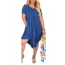 Trendy Solid Color Round Neck Short Sleeve Loose Asymmetric Midi Dress