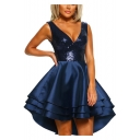 New Stylish V Neck Sleeveless Sequined Detail Open Back Asymmetric Ruffle High Low Hem A-Line Dress