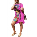 Women's New Trendy Round Neck Short Sleeve Africa Character Mini Casual Dress