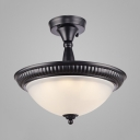 Dome Shade Semi Ceiling Mount Light Traditional Glass Ceiling Lamp in Warm/White for Hallway